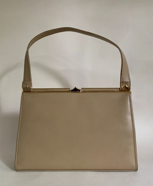 Ackery Well Loved Camel Leather Suede Lined 1950s Vintage Handbag Elbief Frame