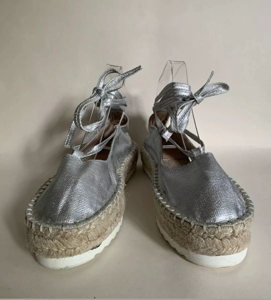 Pull & Bear Silver Coated Fabric Round Toe Platform Tie Up Espadrilles Size Uk 6 EU 39 Small fit