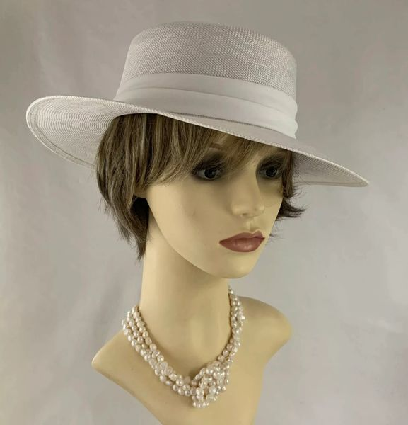 Vintage Circa 1990s White Viscose Dress Hat With Wrap Around Fabric Ribbon & Rosette Detail
