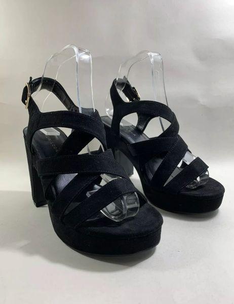 """New Look Black Faux Suede 1970s Vintage Inspired 1"""" Platform Sandal 4"""" Chunky Heels UK 5"""