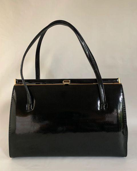 Salisbury Vintage 1950s Handbag Black Patent Leather Buff Suede Lining & Elbief Frame