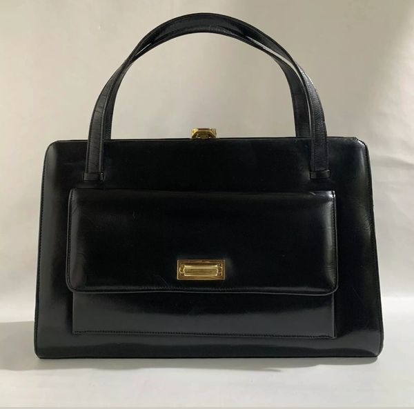 Vintage 1960s Black Large Leather Handbag Large Front Pocket Buff Suede Lining And Gold Toned Fittings
