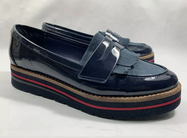 Dune Gracella Blue Leather & Suede Ladies Flat Loafers Fringe Detail Size UK 3 EU 36
