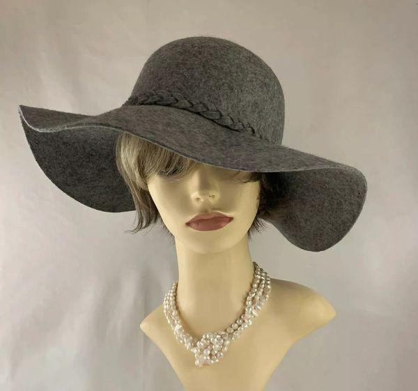 Unbranded Grey Marl Wool Felt Wide Brim Hat With Plaited Ribbon Detail Trilby Fedora