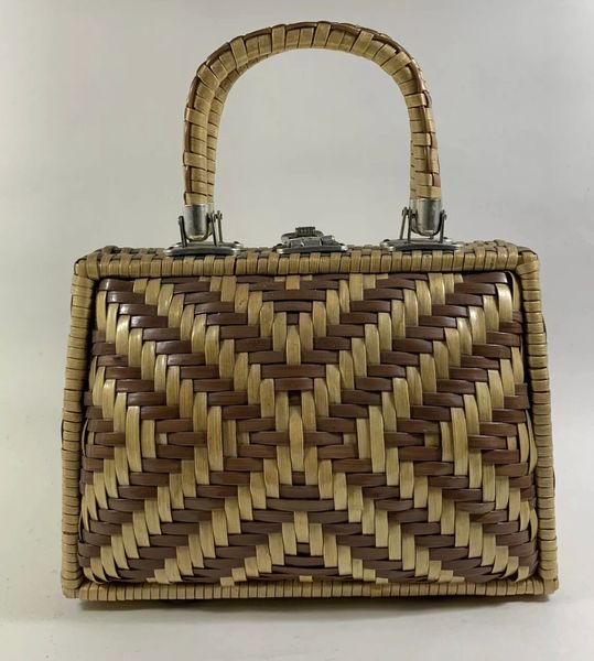 Vintage 1960s Natural & Tan Wicker Top Handle Handbag With Ivory Plastic Lining .