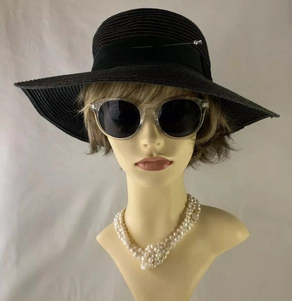 Vintage Inspired Black Paper Straw Wide Brim Hat With 3.5 Inch Thistle Shape Hat Pin