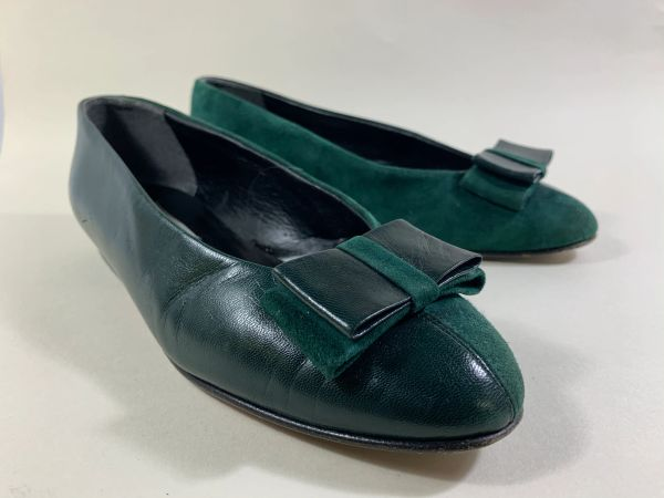 Fiordiluna Green Leather & Suede Bow Fronted Ballet Flats Shoes Leather Soles Size UK 4.5. EU 37.5 Loose fit.