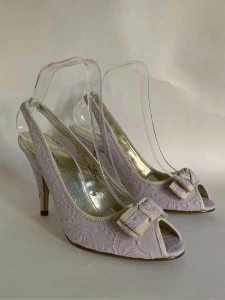 Dolcis Shoes called smooch Broderie Anglaise Pale Pink Slingback Peeptoe Bow Fronted Shoe UK 6 EU 39.