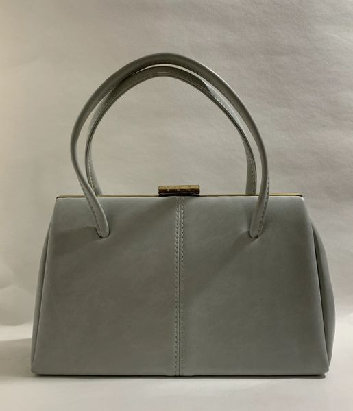 Large Light Grey 1960s Vintage Handbag Faux Leather With Black Fabric Lining
