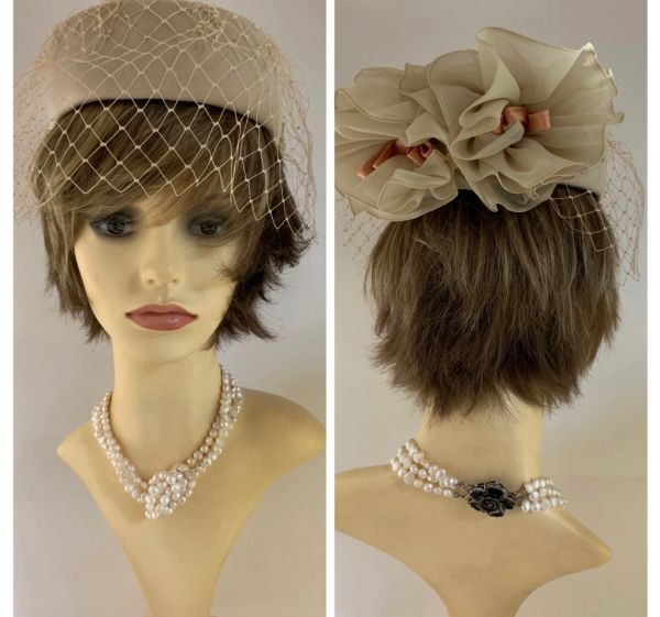 Connor Vintage 1960s Beige Pill Box Hat Face Veil & Gathered Chiffon & Bow Detail To Rear