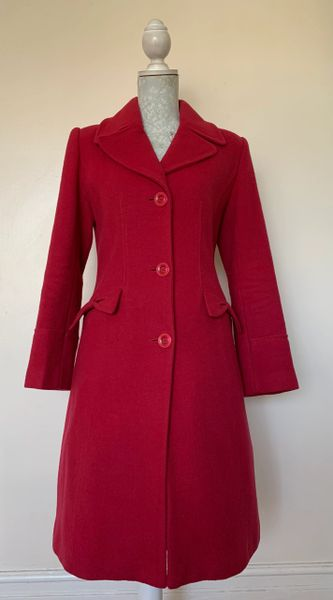 Marks And Spencer Per Una Red Wool Mix Coat Knee Length Single Breasted Size UK 10.