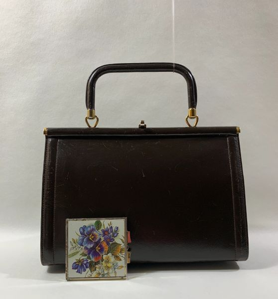 Vintage 1960s Small Brown Leather Handbag Brown Fabric Lining & Vintage Floral Mirror