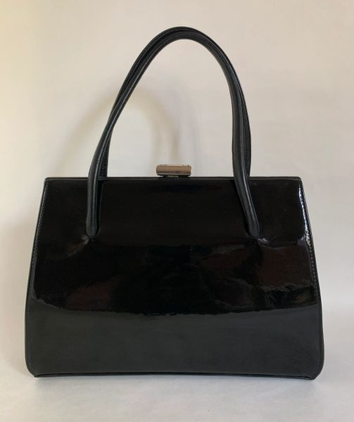 Waldybag Vintage 1950s Black Patent Leather Unbranded Waldybag With Olive Fabric Lining And Vanity Mirror.
