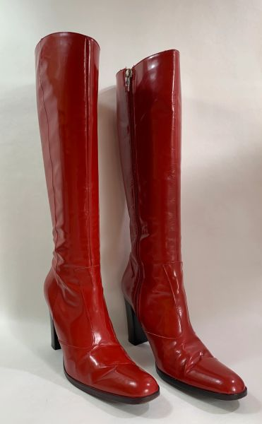 Karen Millen Bright Red 3.5 Inch Heel Round Toe Fitted All Leather Boots Size UK 4. EU 37