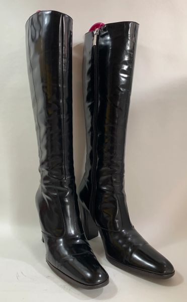 Karen Millen Black 3.5 Inch Heel Round Toe Fitted All Leather Boots Size UK 4. EU 37
