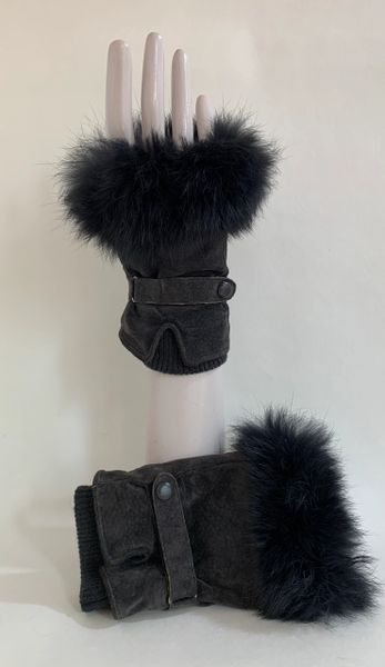 Unbranded Grey Suede & Fur Fingerless Gloves Ribbed Cuffs With Soft Black Lining .