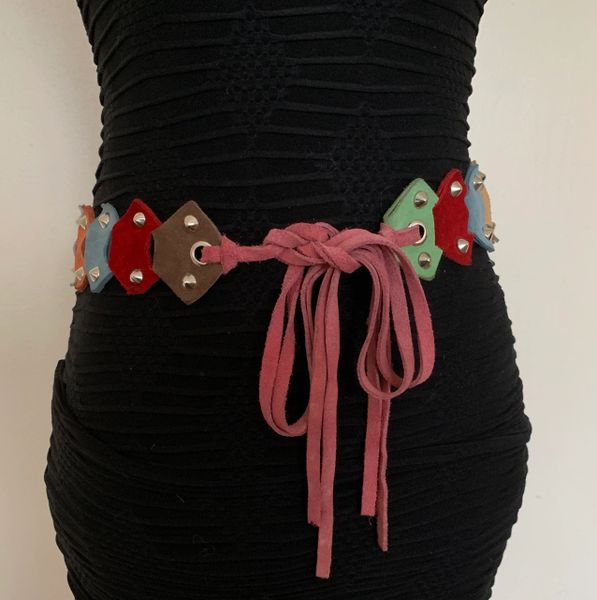 Flower Power Hippy Style 1960s Style Multi Coloured Suede Studded Suede Leather Tie Belt