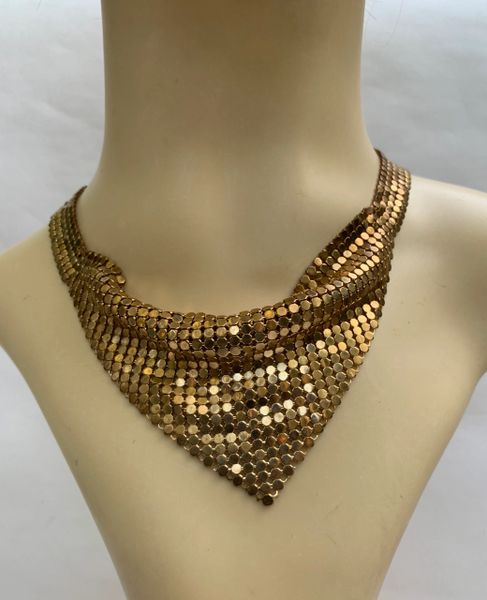 Vintage Glomesh Gold Toned Triangle Shape Choker Necklace Length 16 Inches .