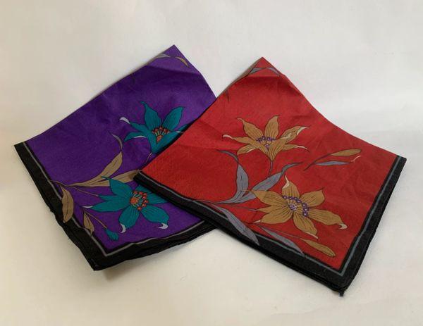Pair Of Mens Vintage Pocket Handkerchiefs One Red & One Purple Stiched Hem Edge.