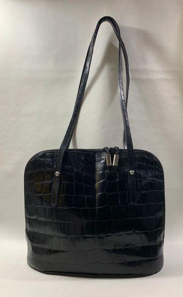 Black Moc Croc Leather Large Maisy Style Shoulder Bag Fabric Lining