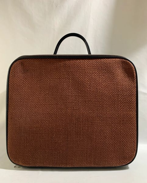 St Michael Vintage 1960s Black Vinyl & Brown Fabric Travel Case .