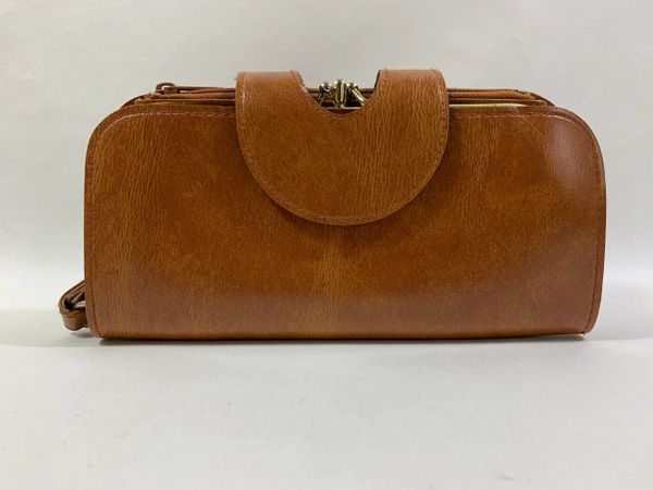Large Double Sided Tan 1950s Vintage Wristlet Purse Wallet Faux Leather Lining
