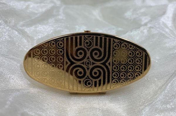 Stratton Gold Toned Mirror Oval Lip View In Original Box .