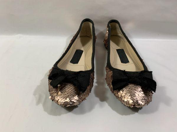 Zara Woman Antique Gold Sequin Ballet Flats Ballerinas With Black Trim & Bow Size UK 5 EU 38.