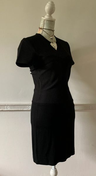 French Connection Black Polyester Stretch Knit Bodycon Dress Round Neck Size 10