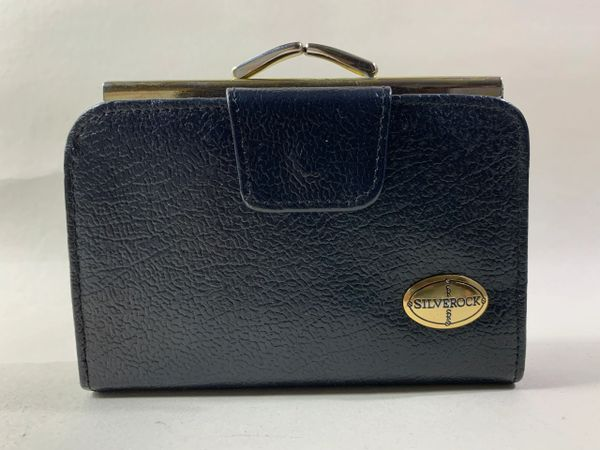 Silverock Black Leather Vintage 1980s Purse Wallet Black Leather & Fabric Lining Gold Toned Frame and Squared kiss clasp