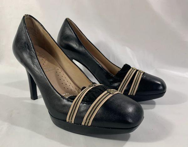 Rockport Black Platform 4.5 Inch High Heel Court Shoe Odiprene Leather Insole