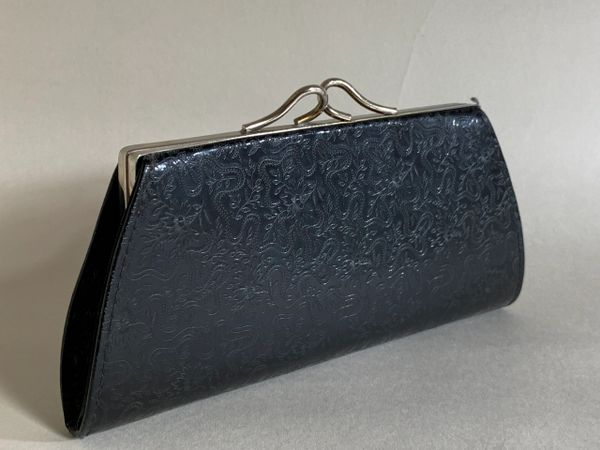 Vintage Black Synthetic Large Coin Purse Mini Clutch With Kiss Clasp & Ivory Plastic Lining