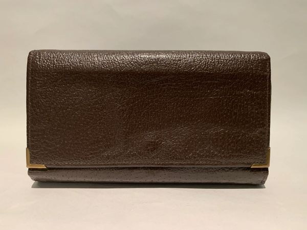 Rich Brown All Leather Textured Large Vintage Wallet/ Purse Circa 1950s/1960s