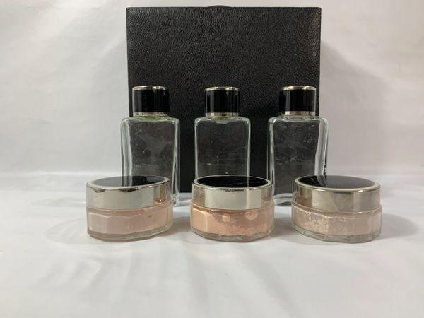 Vintage 1950s Vanity Set Black Vinyl Travel Case Cologne Bottles & Powder Pots