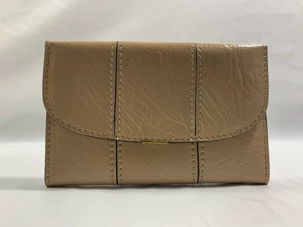 Vintage Beige Leather Clutch Bag Or Large Wallet With Black Leather Lining
