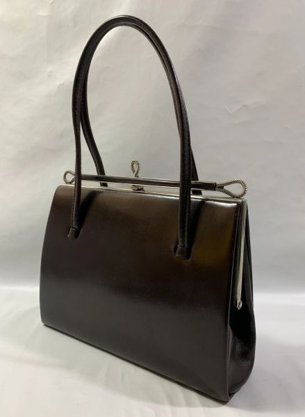 Garfield Of London Brown Leather 1950s Vintage Handbag With Buff Suede Lining.