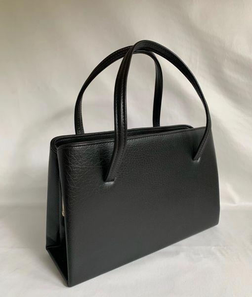 Vintage 1950s Black Granny Handbag Large Synthetic Black Fabric Lining Side Pocket