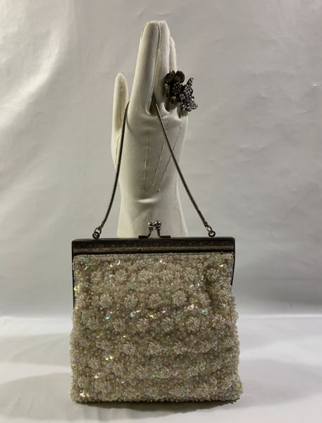 Vintage 1930s Style Ivory Beaded Evening Handbag Silver Tone Frame And Silver Toned Snake Strap.
