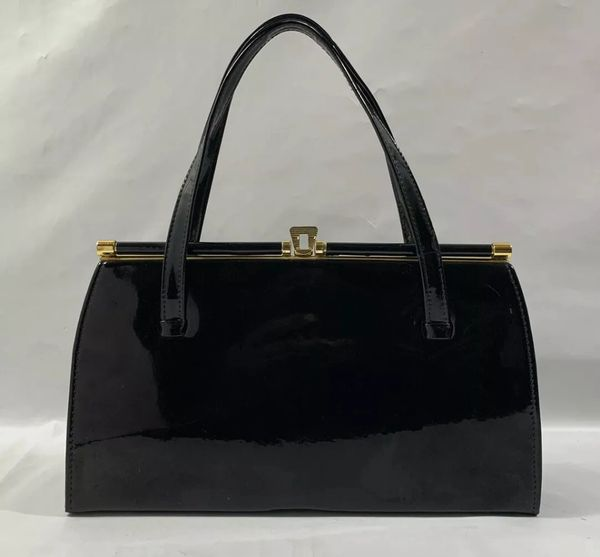 Middx Black Faux Patent Vintage 1950s Handbag With Buff Suede Lining And Vanity Mirror