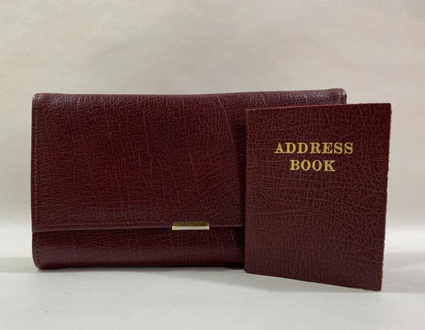 Vintage 1960s Burgundy Leather Coin Purse Wallet Gold Tone Fitting With Matching Address Book