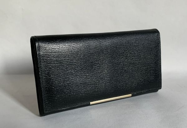 Vintage 1970s Black All Leather Coin Purse Wallet Black Gold Toned Fitting