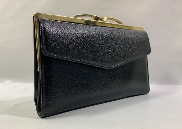 Vintage 1960s Black Purse Wallet Textured Leather Black Leather & Fabric Lining