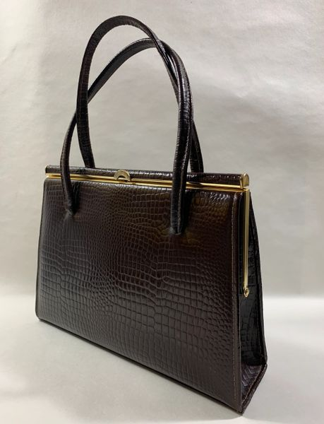 Ackery Dark Brown Moc Croc 1950s Vintage Handbag Buff Suede Leather Lining With Gold Toned Elbief Frame