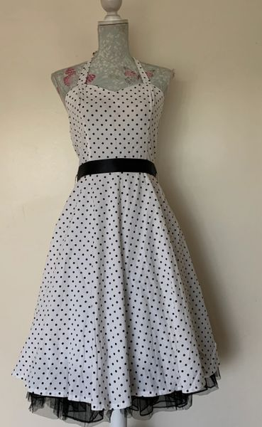 Hearts & Roses H&R White Spotted Rockabilly 1950s Vintage Inspired Halter-neck Dress Size Uk 12. Small fit
