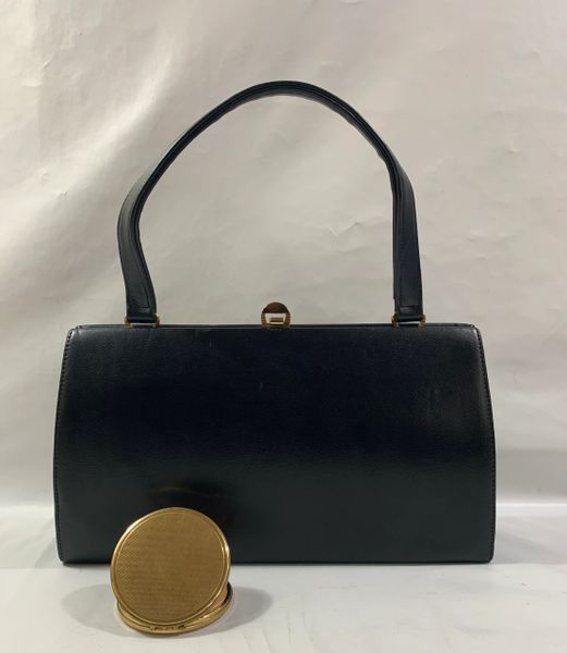 Chamelle Vintage 1960s Handbag Black Faux Leather Fabric Lining With Round Regents of London Powder Compact