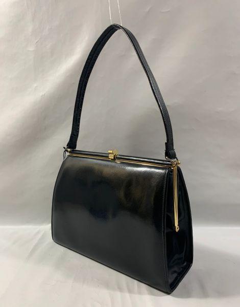 Interwainer Black Hi Shine Leather 1960s Vintage Handbag Buff Suede Lining.