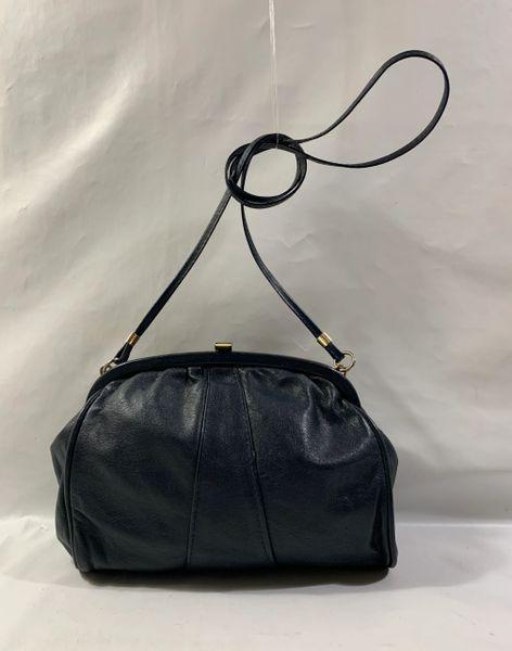 Debenhams Blue Soft Leather 1980s Vintage Handbag Shoulder Bag Fabric Lining.