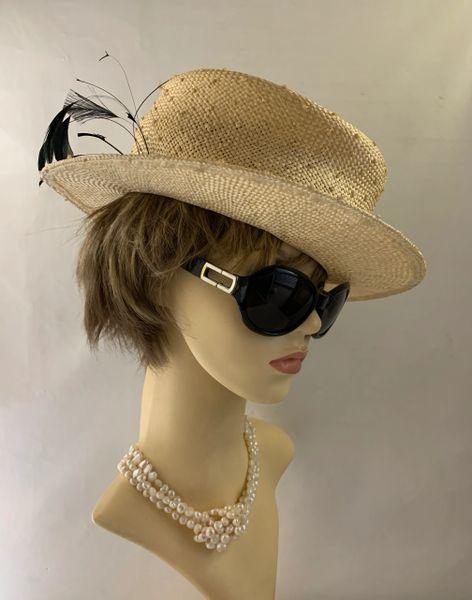 Marida Vintage Inspired Straw Boater Style Hat Petersham Strip Ribbon & Feather