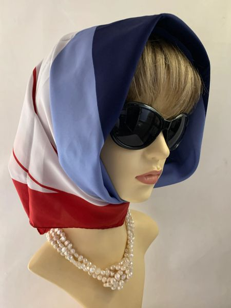Norma Dori Vintage 1960s Scarf Blue Red And White Rolled and Stitched Hem Edge.