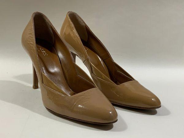 "Hobbs Nude Patent All Leather 3.5"" Slim Stiletto Heel Court Shoe UK 5 EU 38"